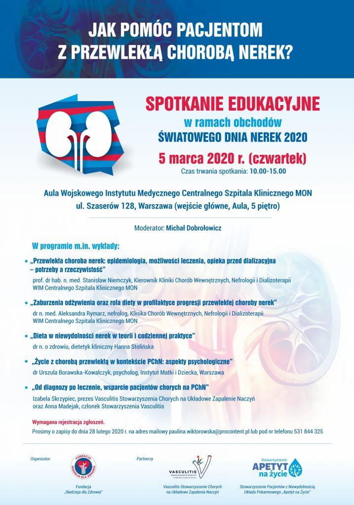 Zaproszenie na spotkanie edukacyjne dla pacjentów nefrologicznych - Plakat