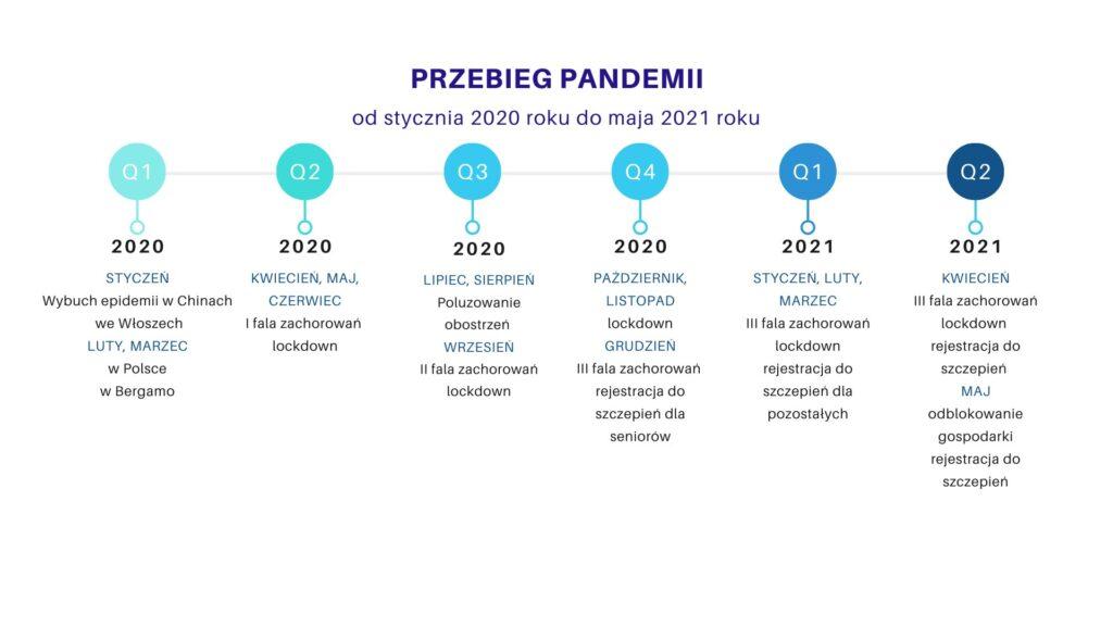 Wykres: Przebieg pandemii w ujęciu czasowym (od stycznia 2020 r. do maja 2021 r.)